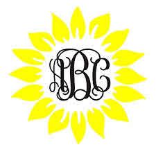 Amazon Com Sunflower Monogram Car Decal Sunflower Monogram Sticker Monogram For Laptop Monogram For Tumbler Custom Initial Monogram Handmade