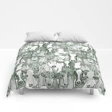 just cattle dark green white comforters