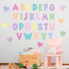 Pastel Rainbow Alphabet Wall Decals Abc S Eco Friendly Nursery Decor