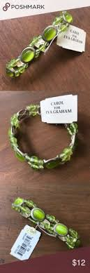"""Gorgeous chartreuse & silver stretch bracelet By Carol for Eva Graham.  Beads and cabochon style """"gems"""" mounted on silvertone. Stretch… 