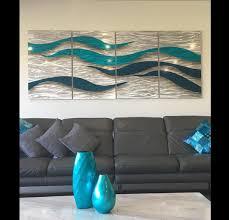 blue waves wall art design modern and