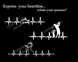 Heartline Hunting Golf Fishing Ekg Heart Shape Iphone Decal Yeti Decal Tumbler Decal Car Window Decal Our White Cottage