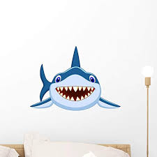 Amazon Com Wallmonkeys Cute Shark Cartoon Wall Decal Peel And Stick Animal Graphics 18 In W X 13 In H Wm28596 Home Kitchen