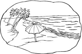 Strand Scene Kleurplaat Gratis Kleurplaten Printen