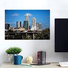 Blue Downtown Charlotte Wall Decals Peel Stick Re Movable Wall Art Zapwalls