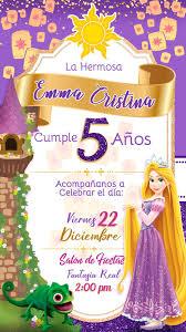 Tarjeta De Invitacion Digital Animada Princesa Rapunzel En 2020