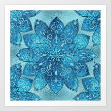blue frosted stained glass flower