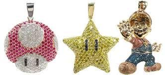 new diamond encrusted mario pendants