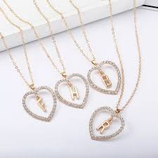 gold color love heart necklaces