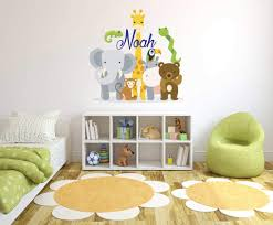 Amazon Com Custom Name Jungle Animals Baby Safari Zoo Animals Series Theme Wall Decal Wall Decal For Nursery Bedroom Playroom Decoration Wide 16 X16 Height Kitchen Dining