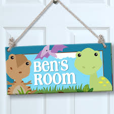 Personalized Kids Sign For Wall Door Dinosaur Theme Room Decor