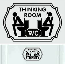Wc Thinking Room Black Vinyl Sticker Decal Signs Toilet Door Ebay