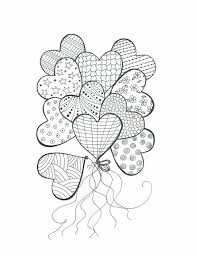 Drawing For Coloring Bouquet Of Heart Balloons Color In With