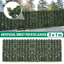 Artificial English Ivy Roll Privacy Screen Hedge Wall Garden Fence Balcony Sweet Potato Leaves Party Diy Decorations Aliexpress