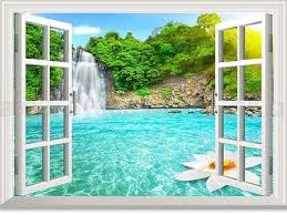 Waterfall Lotus Pool Forest 3d Window View Removable Wall Decals Home Idecoroom