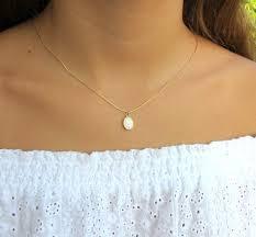 oval opal necklace white opal necklace