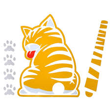 Car Sticker Yellow Cat With Wagging Tail Car Rear Window Windshield Wiper Decal Ushirika Coop