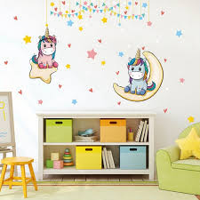 Waliicorners Unicorn Wall Stickers Colorful Cute Cartoon Unicorn Horse Wall Decals For Kids Girls Room Diy Poster Wallpaper Home Decor Waliicorner S Store