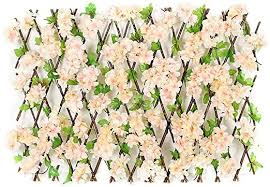 Amazon Com Wooden Expandable Plant Climbing Lattices Trellis Fence Support With Artificial Flower Leaves Fence Privacy Screen For Balcony Patio Outdoor Artificial Hedges Kitchen Dining