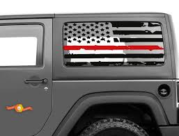 Product Fits Jk Jeep Hardtop Flag Decal Distressed Firefighter Usa Wrangler Window