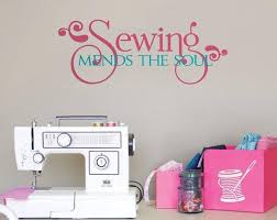 Craft Room Wall Decal Sewing Mends The Soul Sewing Room Vinyl Wall Lettering Crafting Office Wall Quote Gift For Seamstress Or Crafter In 2020 Vinyl Wall Lettering Letter Wall Craft Room