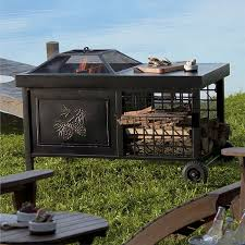 rolling wood burning fire pit