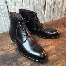 boots leather ankle high cap