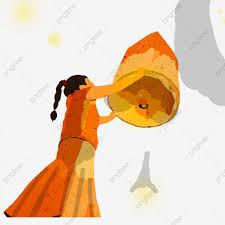 فتاة مرسومة باليد تصلي من أجل مهرجان منتصف الخريف مرسومة باليد