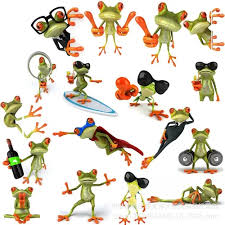 Vova 5pcs The Frog Car Sticker 3d Character Frog Stickers Specification 13 X16cm