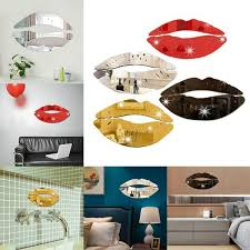 1pc Home Decor Cool Waterproof Sexy Lips Mirror Wall Sticker Wall Decal Home Party Decoration Wish