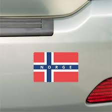 Norwegian Flag Of Norway Custom Text Bumper Car Magnet Zazzle Com
