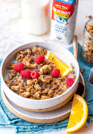 healthy homemade granola dishing out