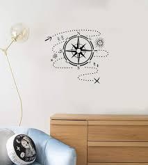 Vinyl Wall Decal Compass Map Adventure Child Kids Room Decor Art Stick Wallstickers4you