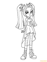 Aria Blaze From My Little Pony Coloring Page Free Coloring Pages