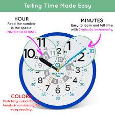 Kids Learning Wall Clock Ocean Blue Frame Tell Time Fun