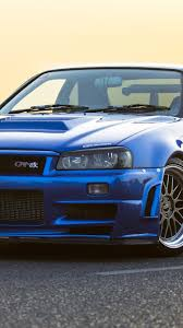 nissan gtr r34 blue car 750x1334 iphone