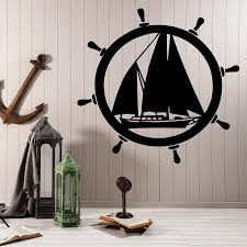 Elements Wall Sticker Sea Ship Steering Wheel Sailboat Vinyl Window Decal Ocean Theme Style Bedroom Nursery Interior Decor M127 Wall Stickers Aliexpress