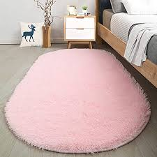 Amazon Com Softlife Fluffy Area Rugs For Bedroom 2 6 X 5 3 Oval Shaggy Floor Carpet Cute Rug For Girls Room Kids Room Living Room Home Decor Pink Home Kitchen