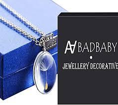 dandelion seed pendant necklace glass