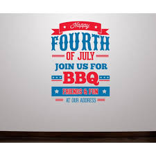 Happy 4th Of July Join Us For Bbq Wall Decal Vinyl Decal Car Decal Idcolor002 25 Inches Walmart Com Walmart Com