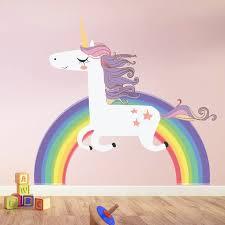 Big Offer 751993 Unicorn Rainbow Wall Stickers For Kids Room Girls Bedroom Window Nursery Decor Birthday Gift Wall Decoration Cicig Co
