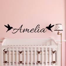 Customize Name With Bird Wall Sticker For Kids Room Bedroom Baby Nursery Boys Girls Wall Decals Home Decor Vinyl Mural S 815 Girl Wall Decal Decorative Vinylname Wall Decals Aliexpress