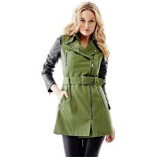 quilted faux leather sleeve trench coat