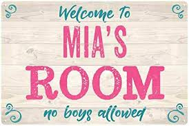 Amazon Com Chico Creek Signs Mia S Room Kids Bedroom Sign Personalized 12x18 Metal Sign 112180089006 Home Kitchen