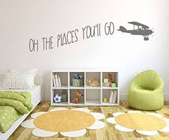 Oh The Places You Ll Go With Vintage Aeroplane Kids Room Vinyl Matt Wall Decal Sticker Baby B01n9r73t2