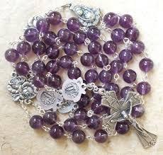 amethyst catholic rosary necklace
