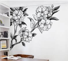 Big Flowers Hand Painting White And Black Wall Decal Floral Wall Decals Rem Murais De Parede Pintados Decoracao De Parede Criativa Arte Decoracao Na Parede