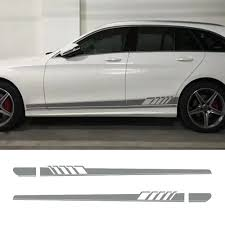 2x Silver Gray Side Stripe Decal Sticker Fit For Mercedes Benz W205 C Class Ebay