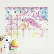 Tie Dye Dry Erase Calendar Peel And Stick Giant Wall Decal Roommates Decor