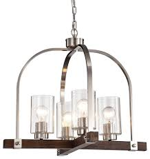 wood finish chandelier with seedy glass